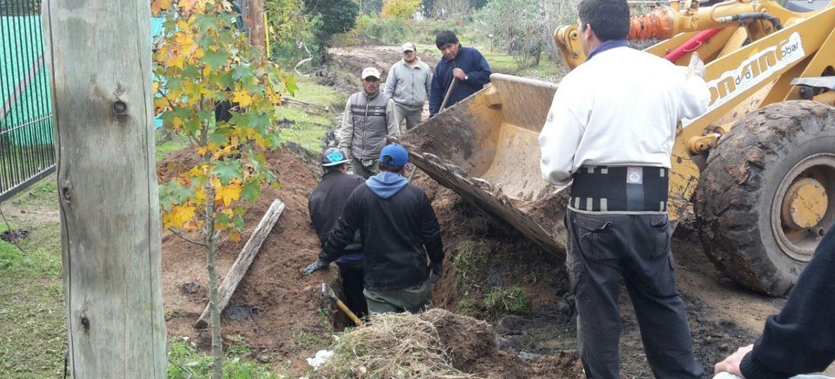 Obras de bacheo, desagüe y limpieza en calles de Matheu y Maquinista Savio