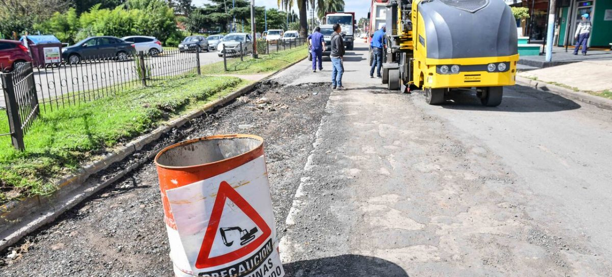 Avanzan las tareas de repavimentación del Boulevard Presidente Perón de Garín