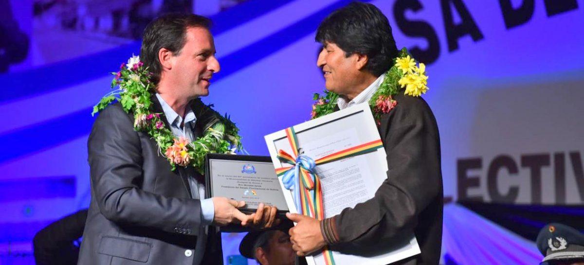Ariel Sujarchuk recibió a Evo Morales en Escobar