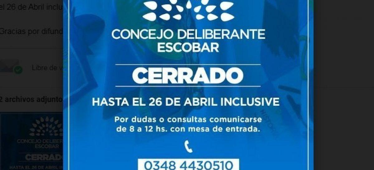 El Concejo Deliberante de Escobar permanecerá cerrado hasta el 26 de abril inclusive