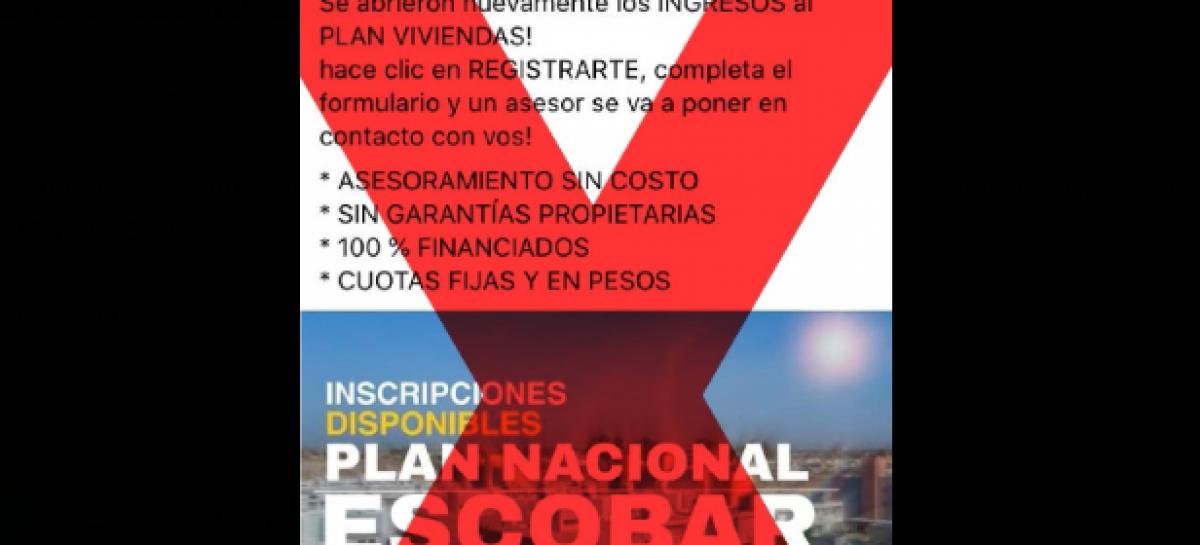La Municipalidad de Escobar alerta a la población sobre un engañoso programa nacional de viviendas