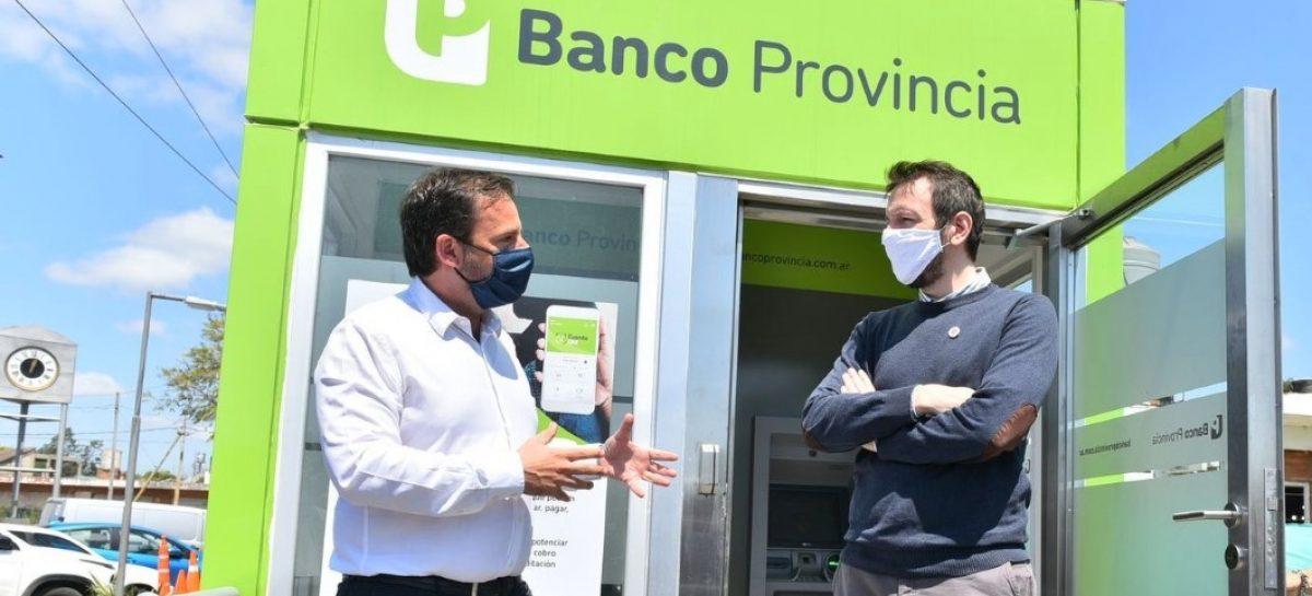 Inauguraron una cabina móvil con dos cajeros automáticos del Banco Provincia en Garín